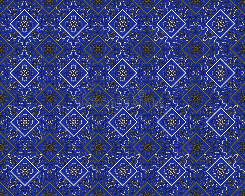 Blue seamless flower damask background vector illustration