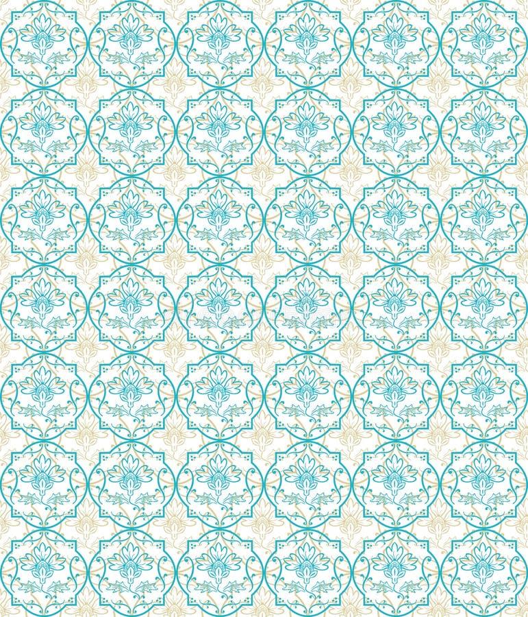 Blue seamless flower damask pattern royalty free illustration