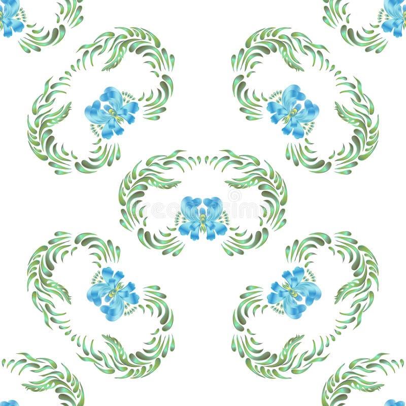 Blue seamless flower pattern stock illustration