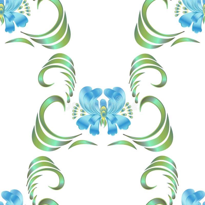 Blue seamless flower pattern vector illustration