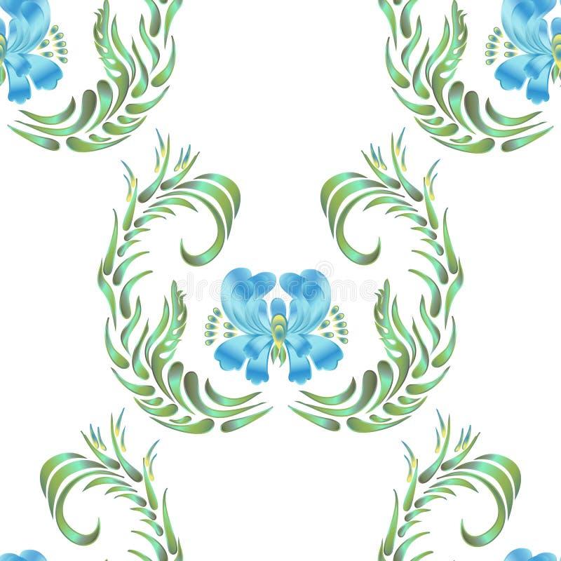 Blue seamless flower pattern royalty free illustration