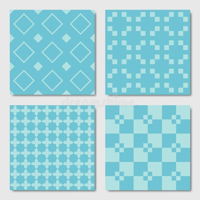 Blue Seamless Geometric Patterns royalty free illustration
