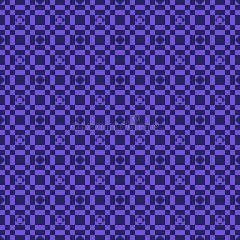 Blue seamless geometric patterns in square patterns in deep blue background royalty free illustration