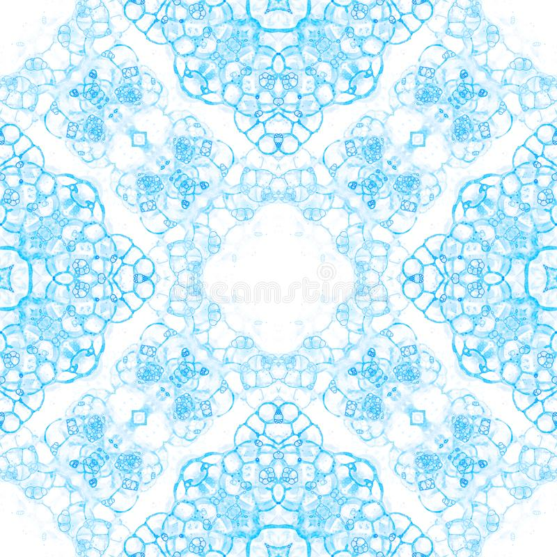 Blue seamless pattern. Amazing delicate soap bubbles. Lace hand drawn textile ornament. Kaleidoscope royalty free stock photo