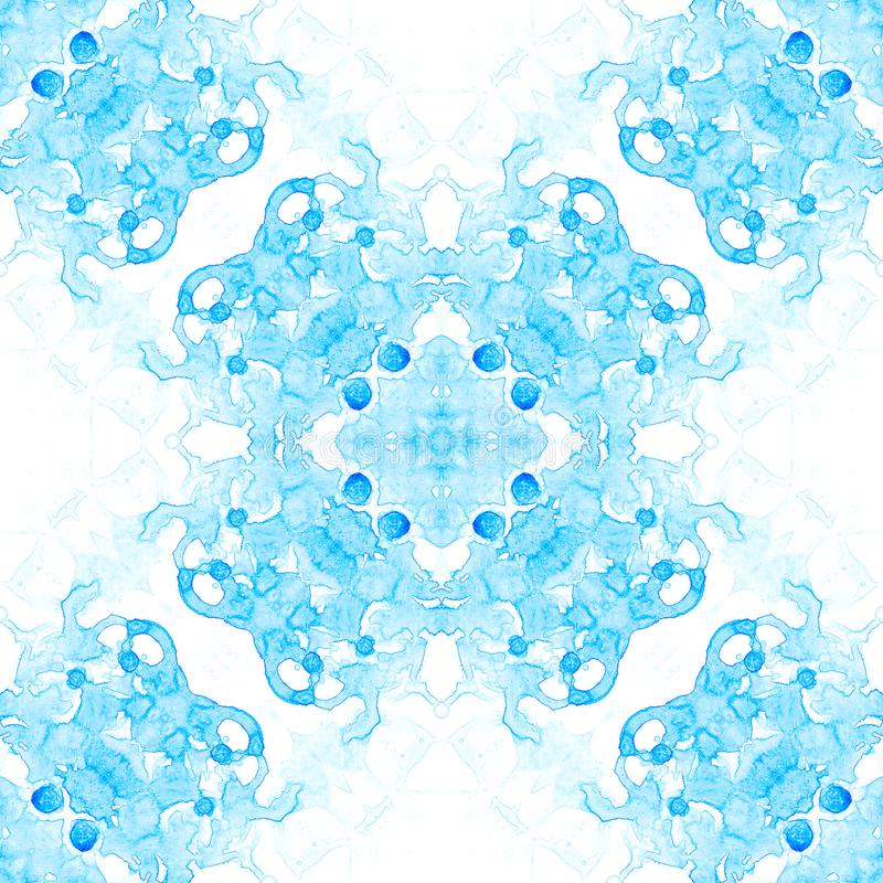 Blue seamless pattern. Appealing delicate soap bubbles. Lace hand drawn textile ornament. stock illustration