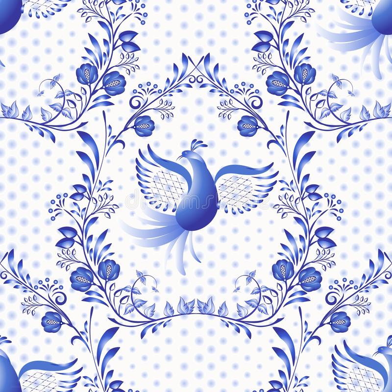Blue seamless pattern. Floral background with birds and dots in the style of national porcelain painting. royalty free illustration