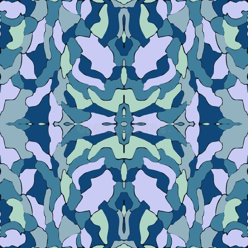 Blue seamless pattern, kaleidoscope background, design for fashion stock photography