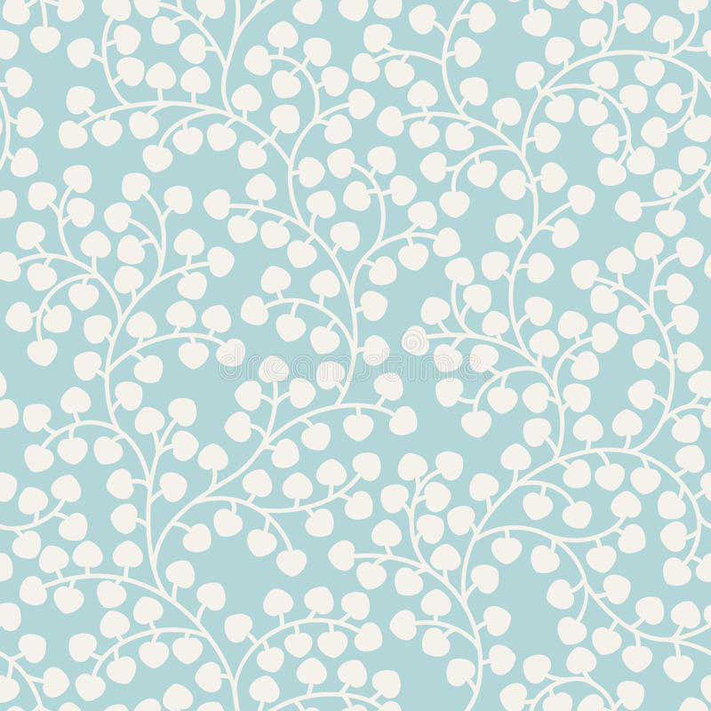 Blue seamless pattern with leaves stock illustration