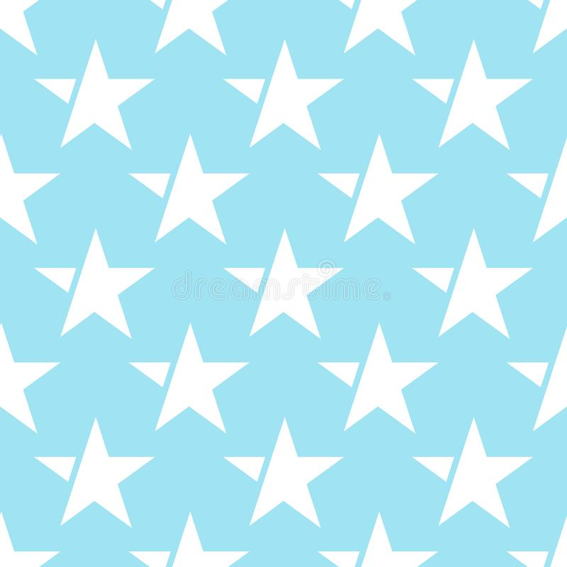 Blue seamless pattern with white star. vector vector illustration