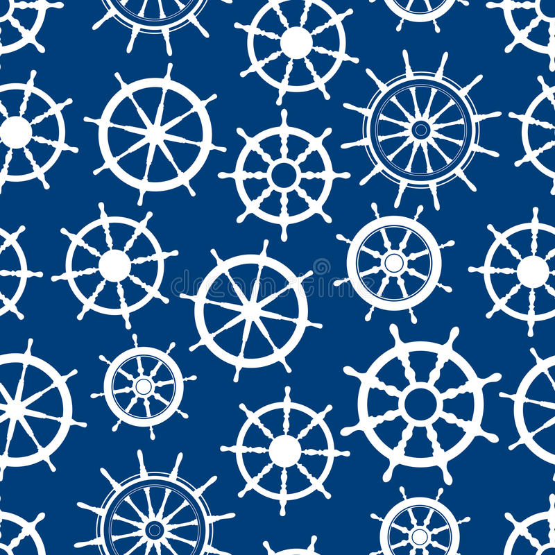 Blue seamless pattern with ship helms stock illustration