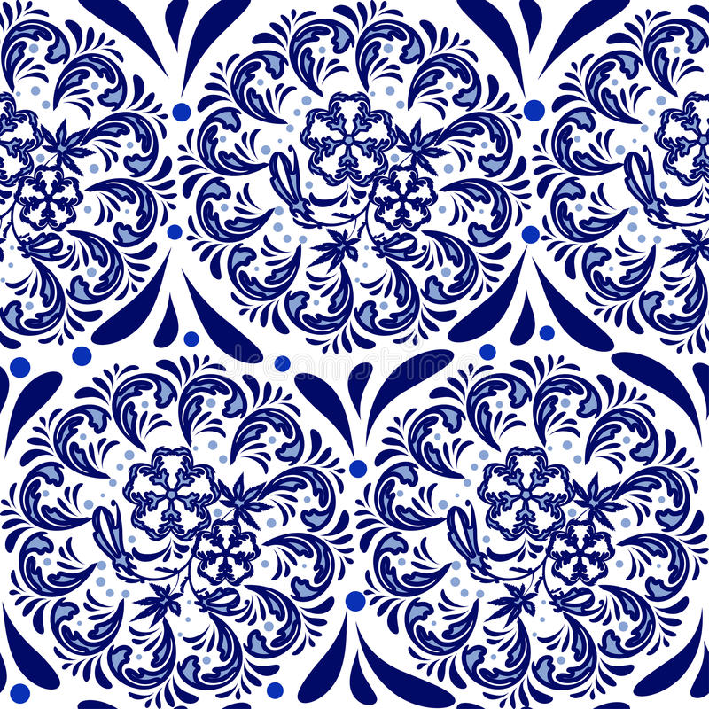 Blue seamless pattern in the style of Russian national pattern gzhel. Circular pattern mandala of flowers on a white background. stock illustration