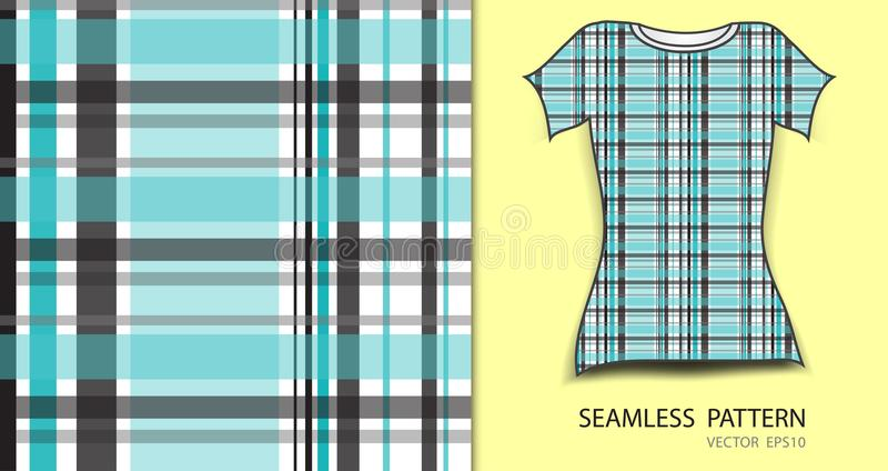 Blue seamless pattern vector illustration, t-shirt design, fabric texture, patterned clothing stock illustration