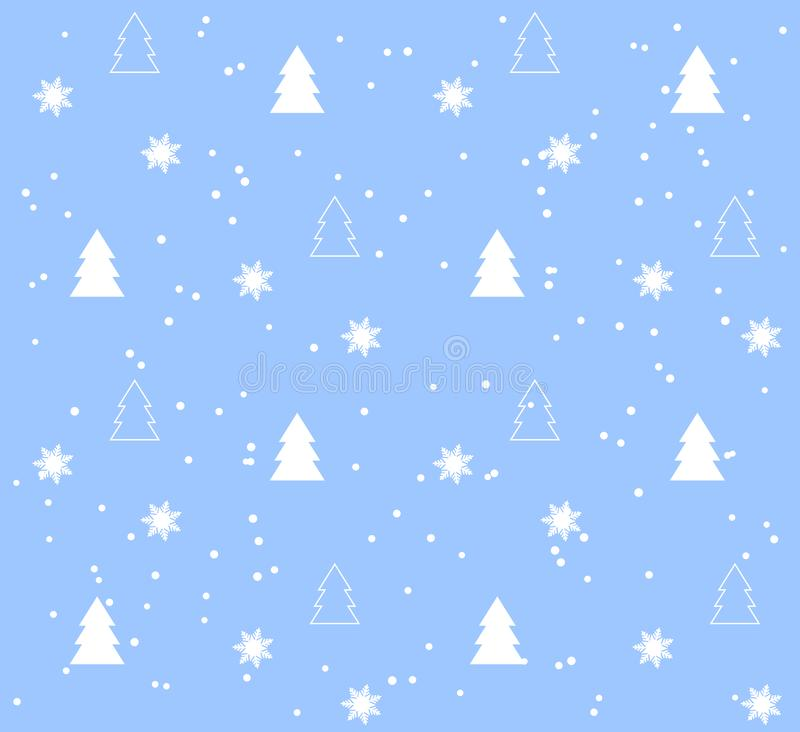 Blue Seamless pattern with white Christmas trees. Seamless pattern with Christmas trees. White pattern on blue background. Festive texture. Holiday xmas design royalty free illustration