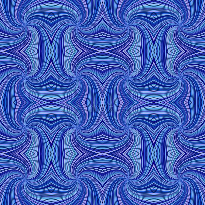 Blue seamless psychedelic geometrcial spiral stripe pattern background - vector curved ray burst graphic. Design stock illustration