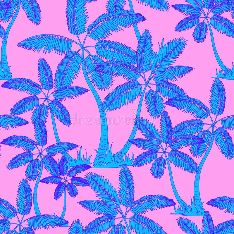 Blue Seamless tropical palms pattern. Summer endless hand drawn vector pink background of palm trees can be used for wallpaper, royalty free illustration