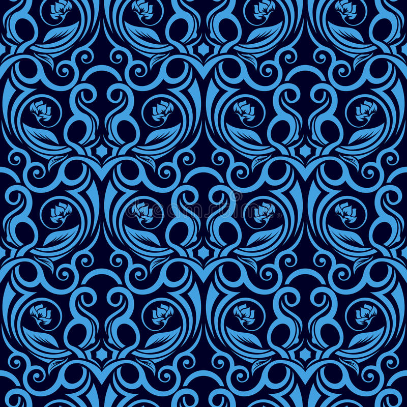Download Blue seamless wallpaper stock vector. Image of fabric - 16766726