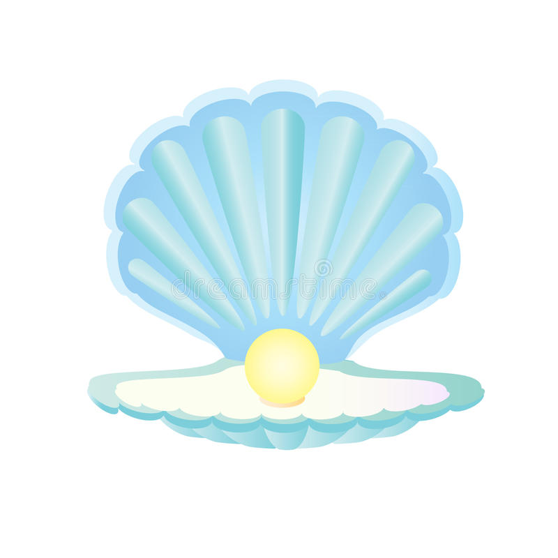 Free Blue Seashell With Pearl Stock Images - 61814044