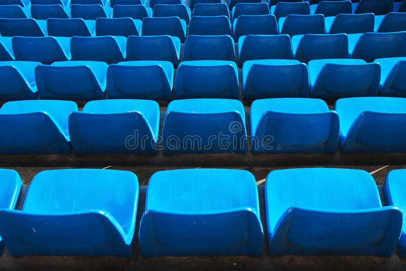 Blue seats in a stadium. Several lines of seats in Santiago Bernabeu Stadium - Madrid royalty free stock photo