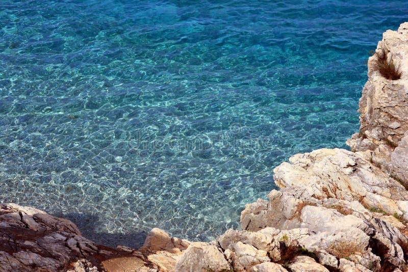 Blue seawater at Lo Zingaro stock image
