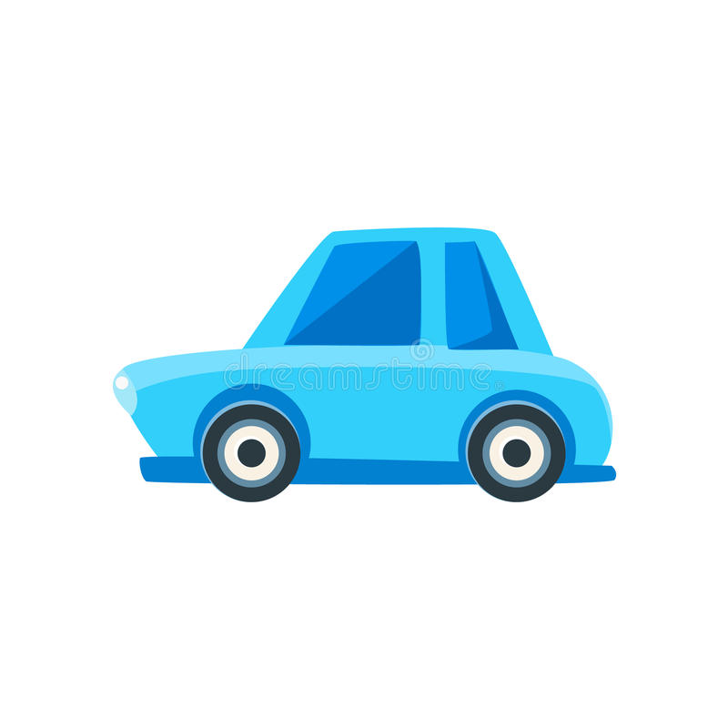 Blue Sedan Toy Cute Car Icon. Flat Vector Transport Model Simple Illustration On White Background vector illustration