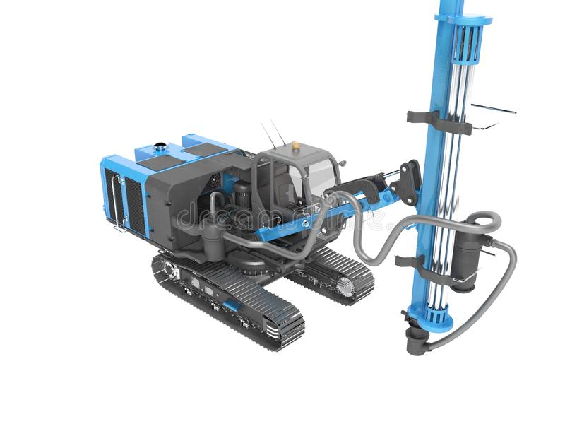 Blue self propelled drilling rig for the construction and laying of caterpillar track mounted magestralia 3d render on white vector illustration
