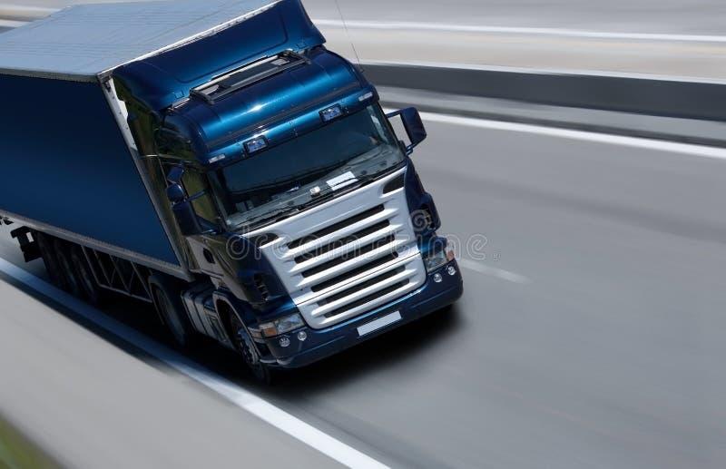 Blue semi truck stock image