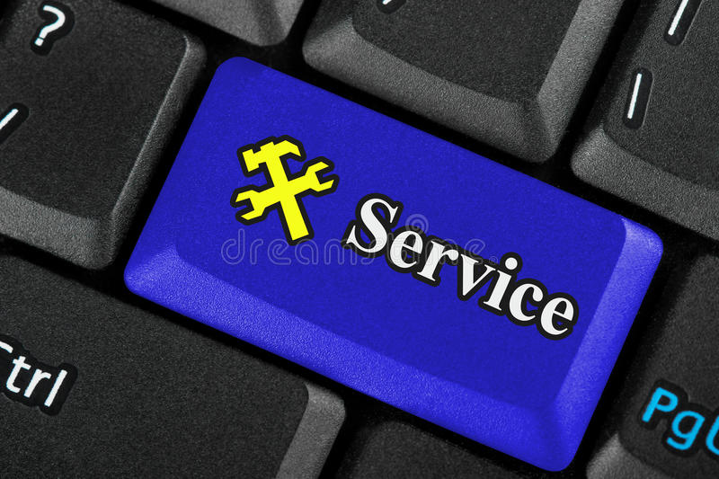 Blue service icon button stock photos