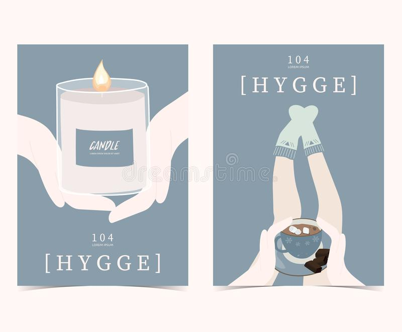 Blue set of hygge cards and posters with candle,hand,sock,leg an vector illustration