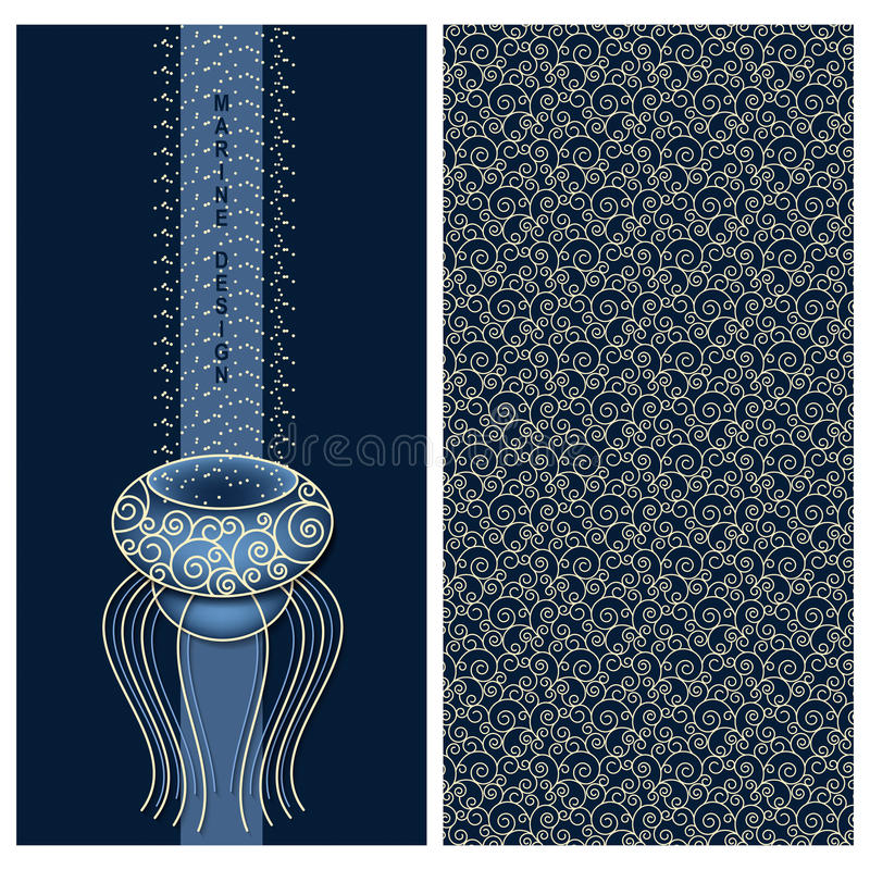 Blue set with marine design a card with a jelly-fish and seamless vector pattern with waves vector illustration