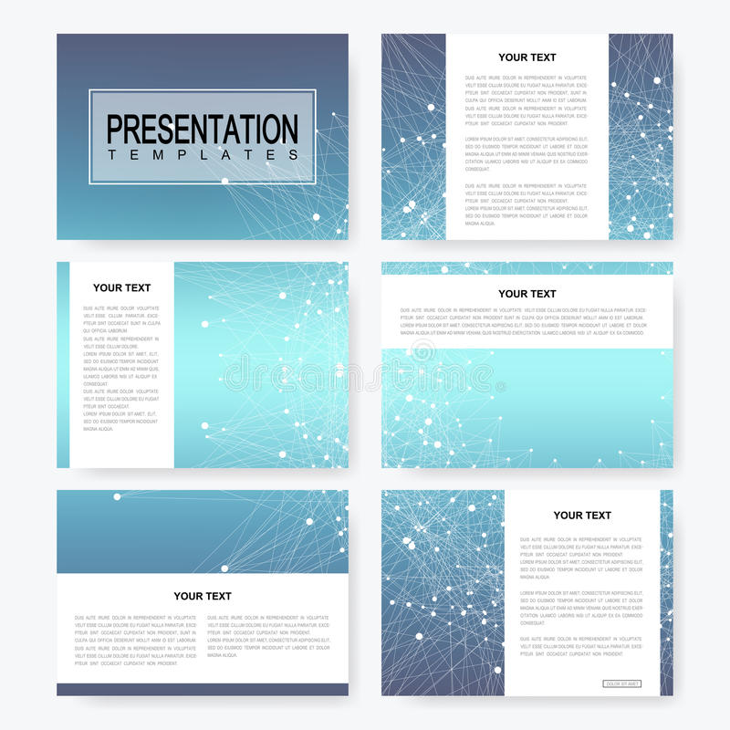 Blue set of vector presentation templates with molecule structure vector illustration