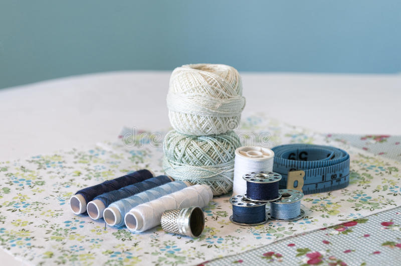 Blue sewing items royalty free stock photo