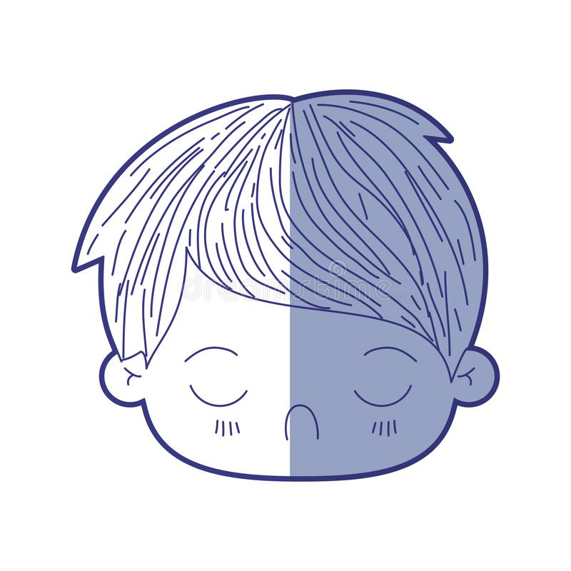 Blue shading silhouette of kawaii head of little boy with facial expression disgust with closed eyes. Vector illustration royalty free illustration