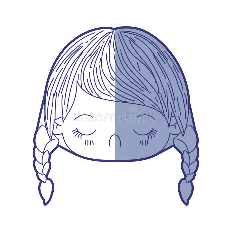 Blue shading silhouette of kawaii head little girl with braided hair and facial expression disgust. Vector illustration royalty free illustration