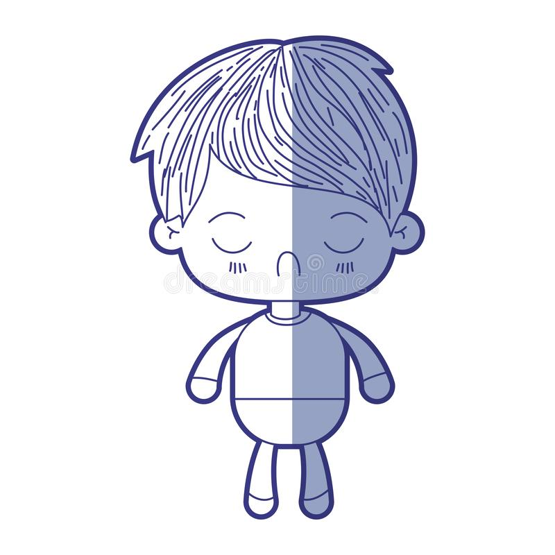 Blue shading silhouette of kawaii little boy with facial expression disgust with closed eyes. Vector illustration royalty free illustration