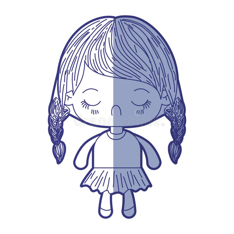 Blue shading silhouette of kawaii little girl with braided hair and facial expression disgust. Vector illustration royalty free illustration