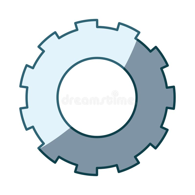 Blue shading silhouette of pinion model two. Vector illustration royalty free illustration