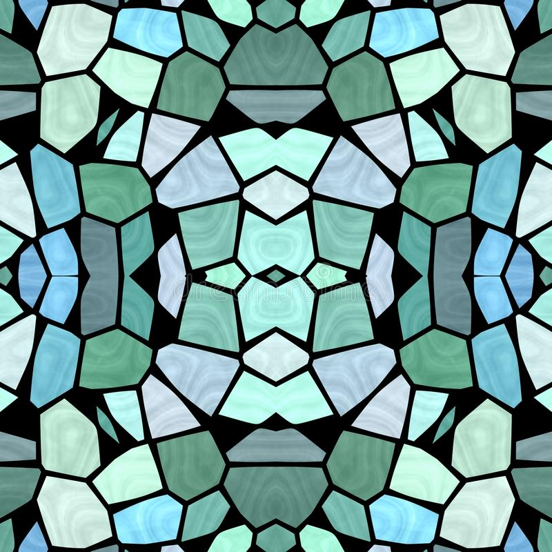 Blue shadows kaleidoscope with creative design and modern multicolor vintage. Abstract seamless texture royalty free illustration