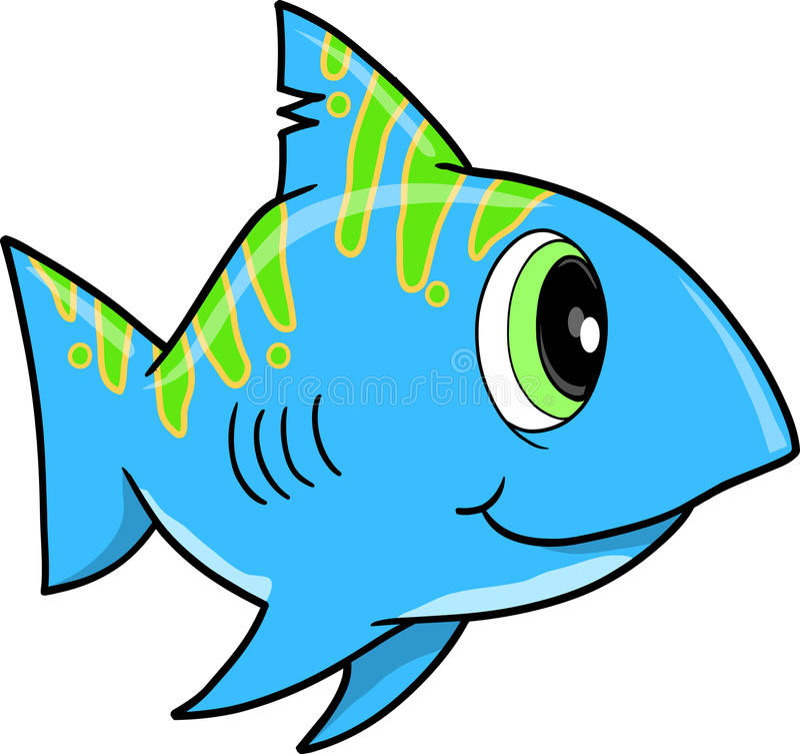 Blue shark Vector Illustration. Cute blue shark Vector Illustration vector illustration