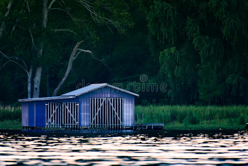Download Blue shed on dock stock photo. Image of house, dock, rural - 82951438