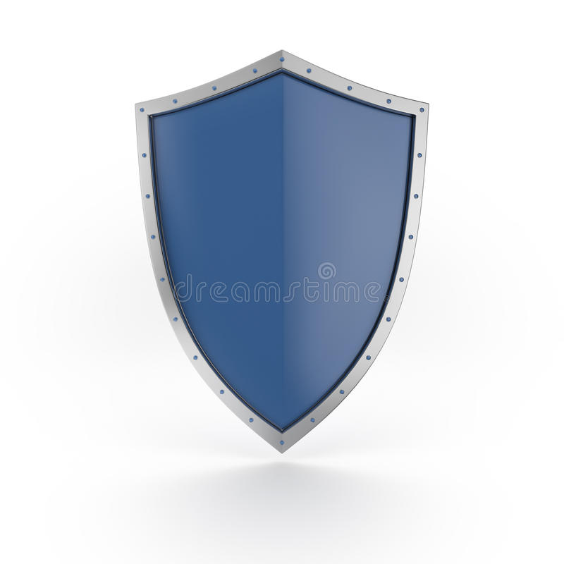 A blue shield with shiny silver border