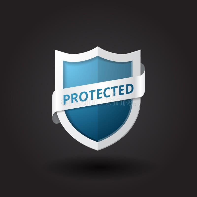 Blue shield vector with banner. Vector illustration stock illustration