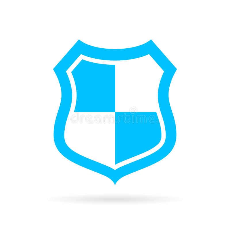 Blue shield vector icon royalty free illustration