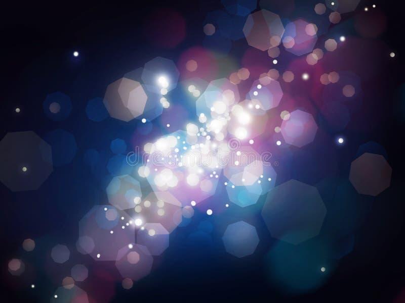 Blue shining blur lights background stock illustration