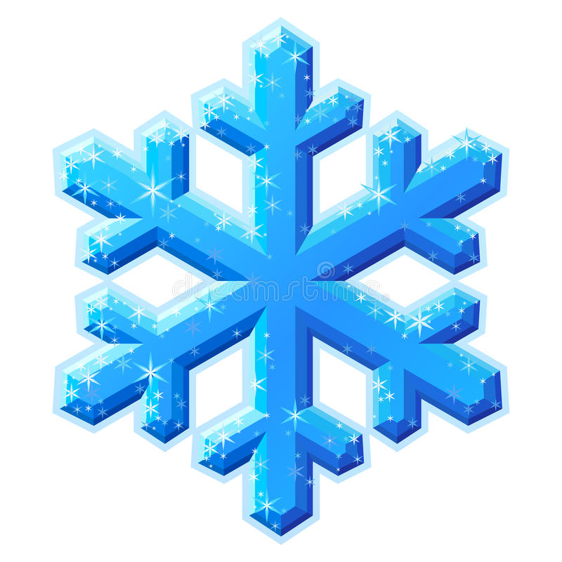 Blue shining snowflake crystal royalty free illustration