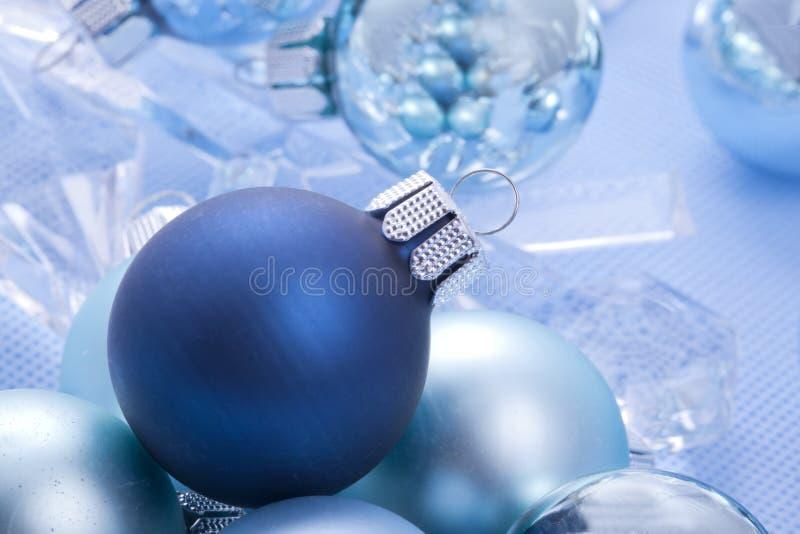 Blue Shiny Christmas Balls Royalty Free Stock Photos