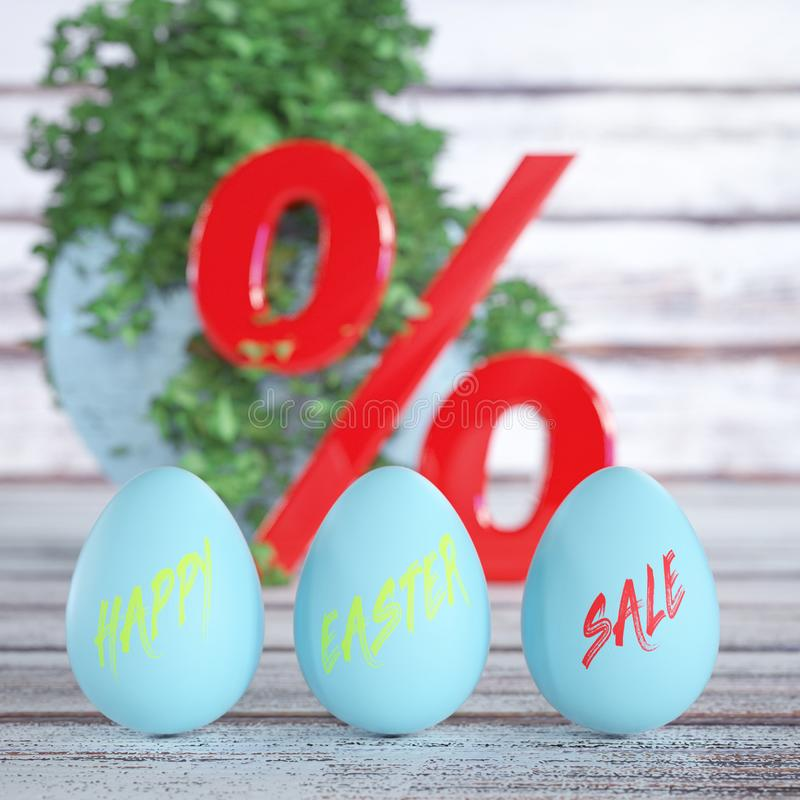 Blue Shiny Easter Eggs with Happy Easter Sale Sign with Red Percent Sign on a Wooden Board Table. 3d Rendering vector illustration
