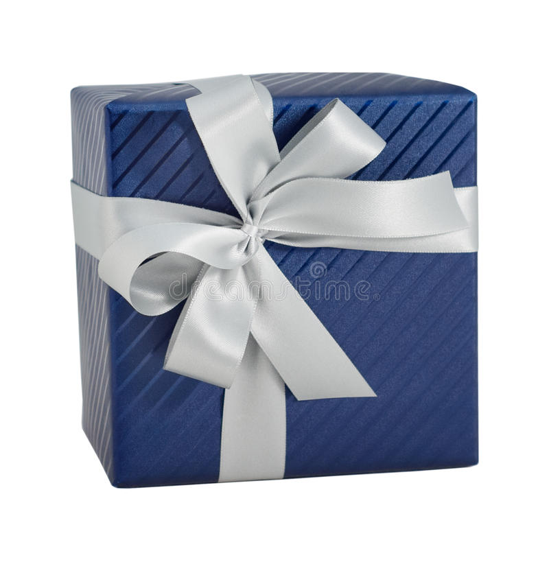 Blue shiny paper wrap gift box white ribbon present christmas birthday isolated stock images