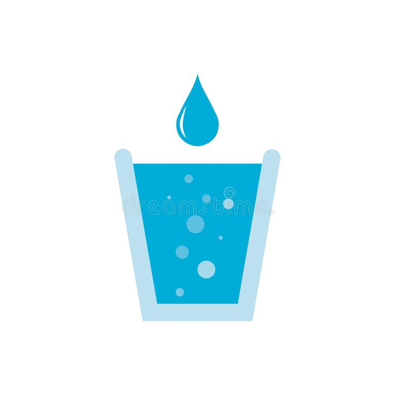 Blue shiny water drop and water glass with bubbles. Gas water, soda. Vector illustration isolated on white background vector illustration
