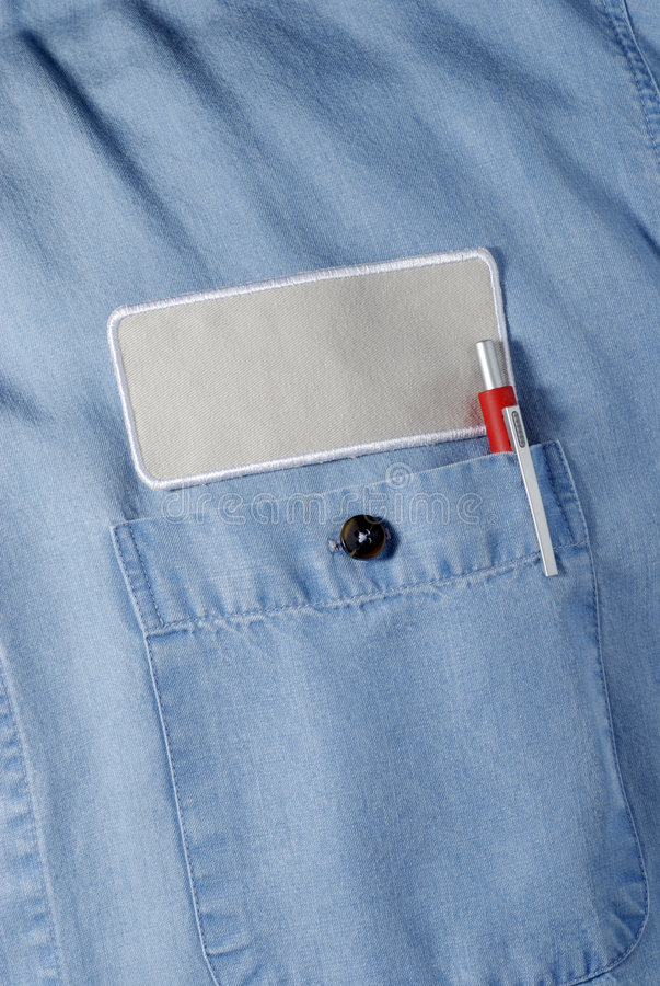 Blue shirt with logo patch. Blue shirt with a logo patch ready for custom name or company logo stock image
