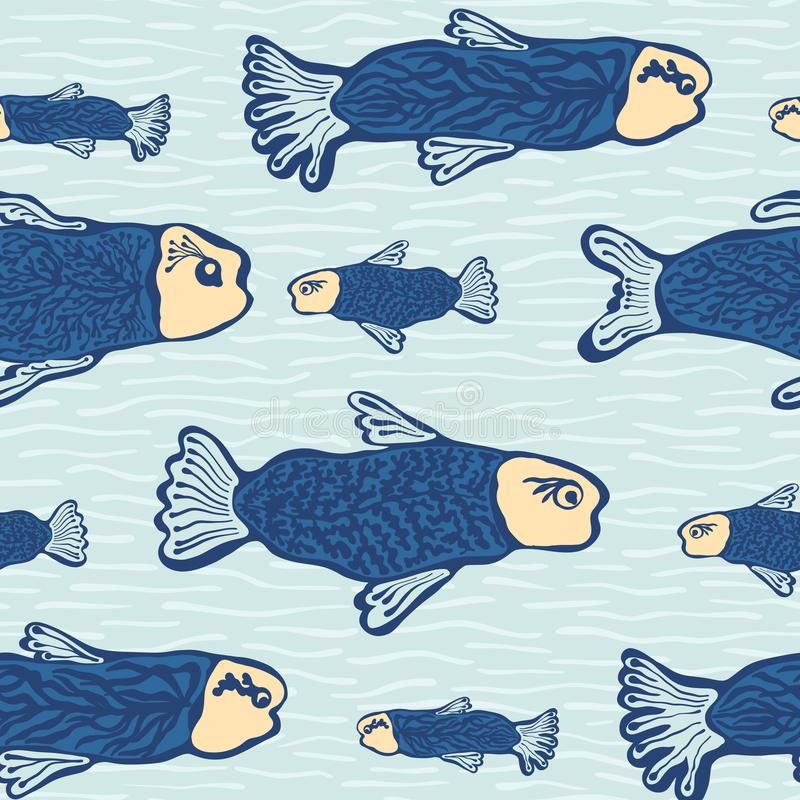 Blue Shoal of Fish, Seamless Seaweed Animal Vector Pattern Background. Nautical Drawn Illustration for Summer Scrapbooking, Gift Wrap, Kids Fashion Prints stock illustration